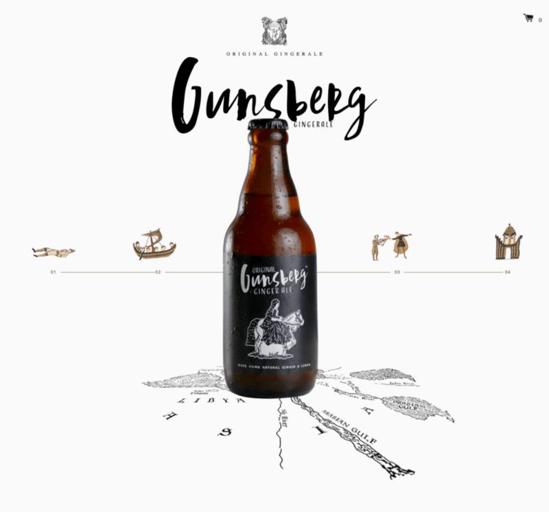 Homepage of Gunsberg showing a juicy beer.