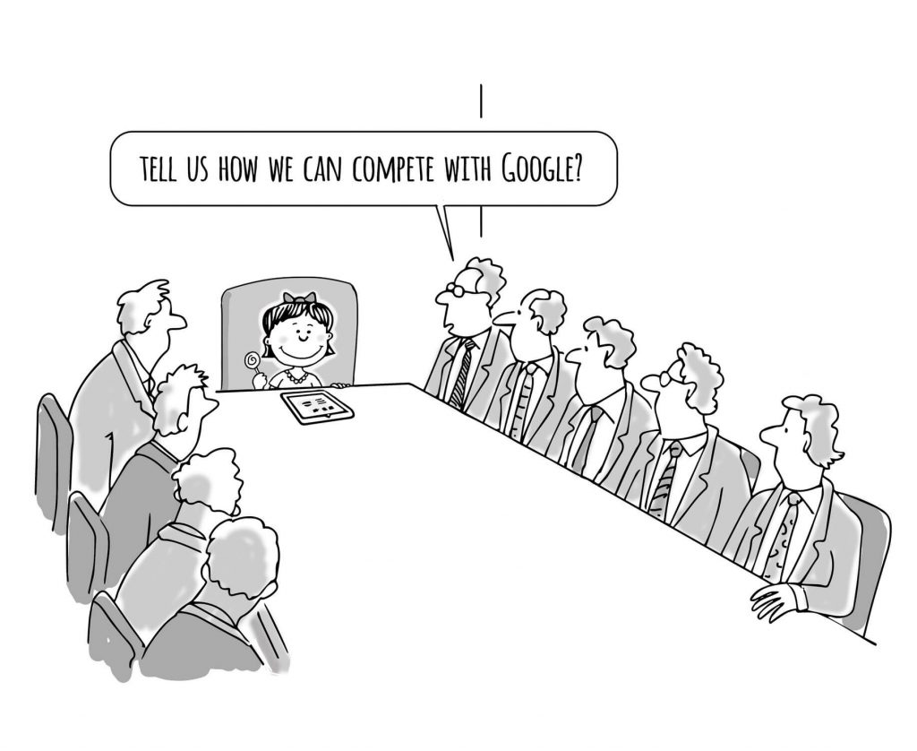 A board meeting with a director asking how they can compete with Google.