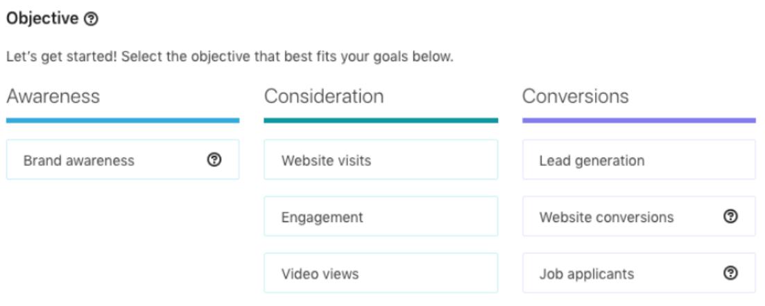 objectives ads linkedin