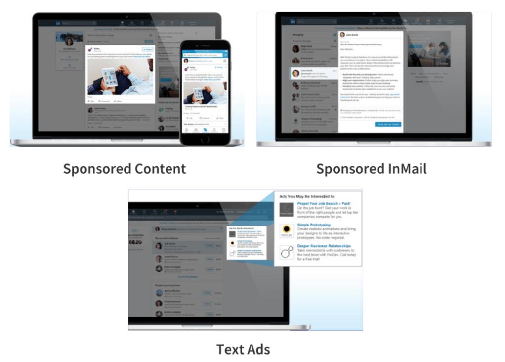 types of ads linkedin